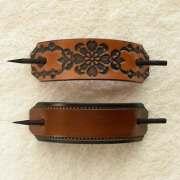 retro leather barrettes with sticks