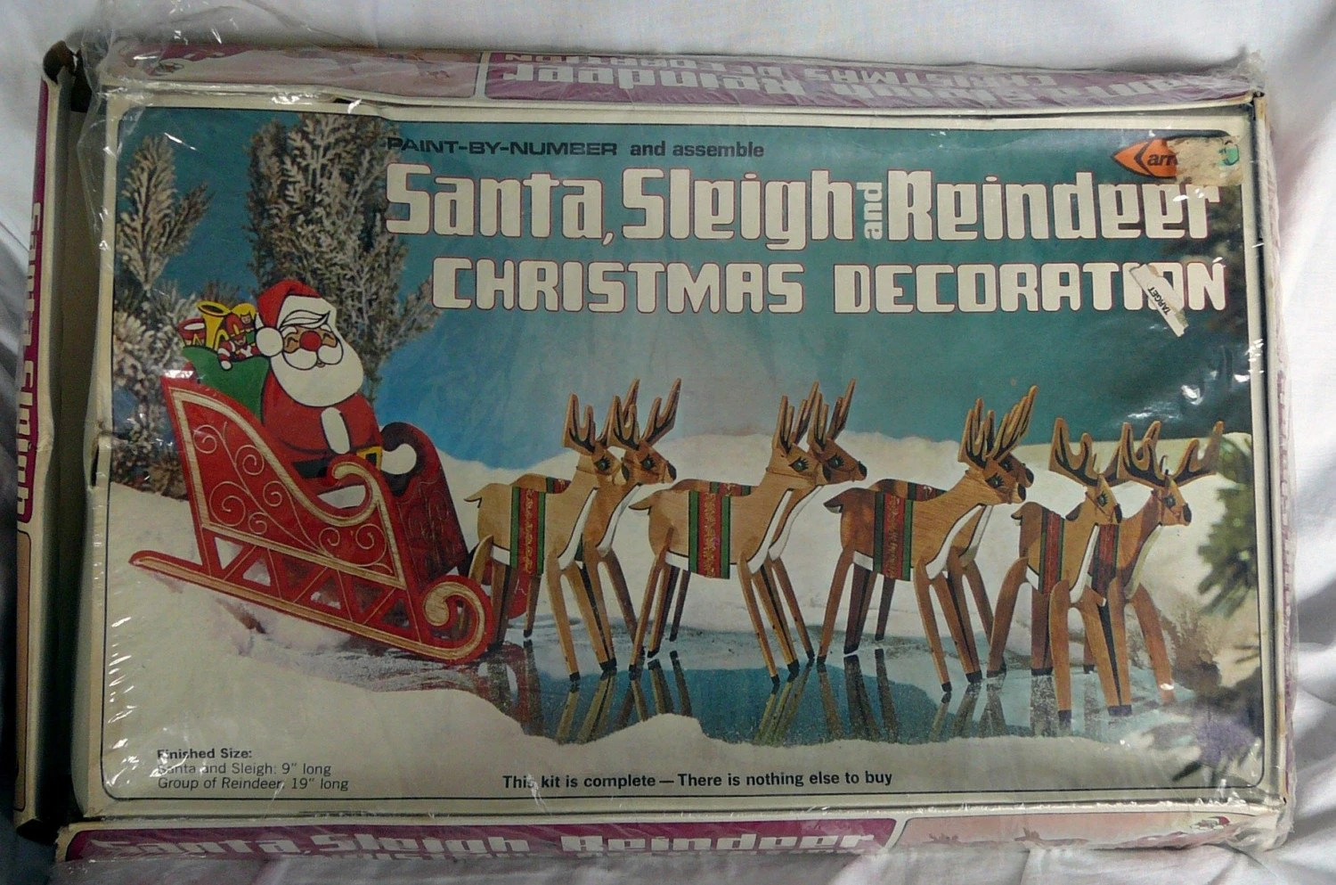 Vintage Paint By Number Wood Christmas Santa Sleigh By