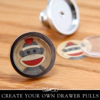 DIY Drawer Pull Kit. Silver Drawer or Cabinet Knob with Clear