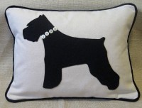 Black Miniature Schnauzer Pillow with Button Collar