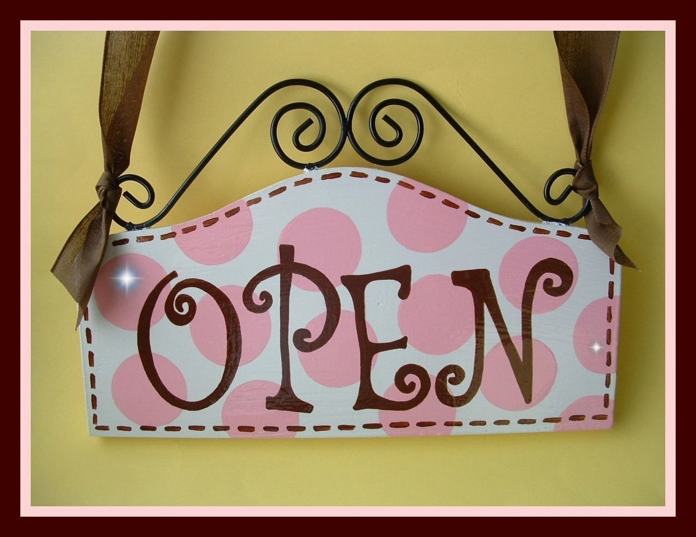 OPEN CLOSED Boutique FRONT Door Sign Chocolate By