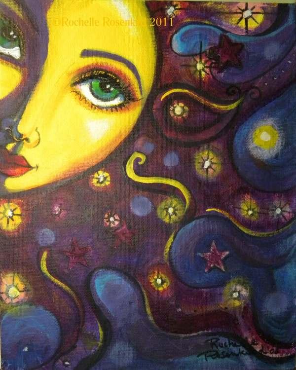 Sun Face Painting Celestial Goddess Art Print 8 X 10