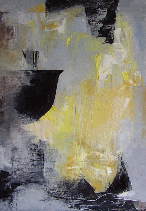 Grey Black and White Abstract Paintings