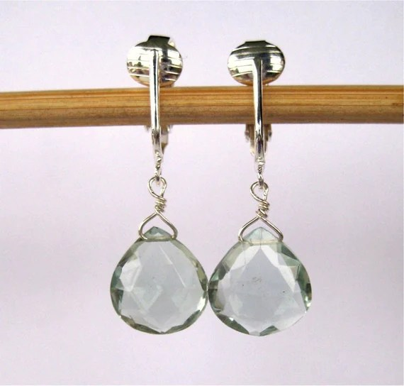 Pale Blue Green Clip On Earrings, Silver Clipons, Quartz Briolette Clip-on Earrings, Handmade, Morris