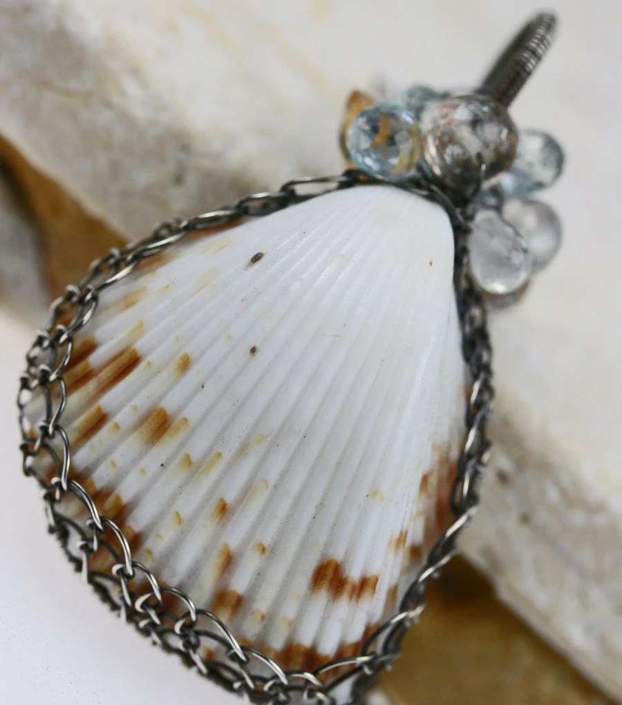 Sea Shell Necklace Wire Wrapped Gemstone Oxidized Silver The