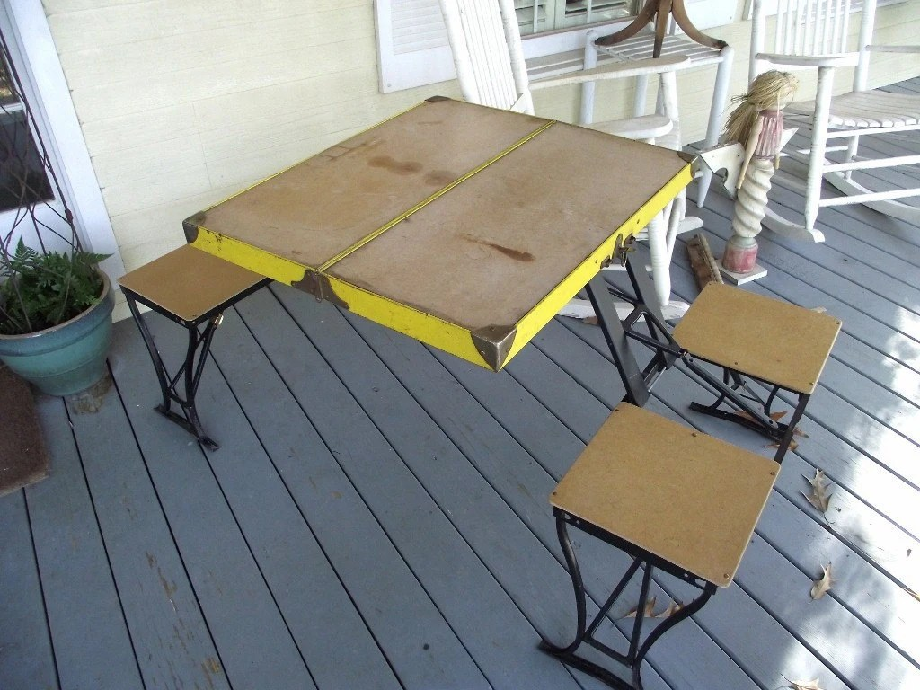 Vintage Folding Table  Chair Set by Handy Company Picnic