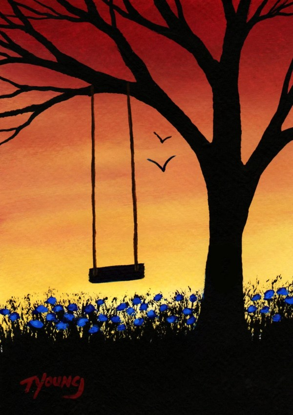 Tree Swing Modern Folk Art Print Of Todd Young Painting