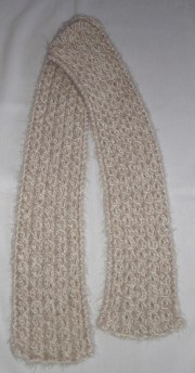 beige angel hair yarn-over cable