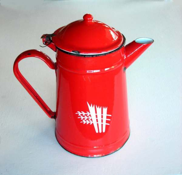 Red Enamel Tea Pot Coffee Vintage
