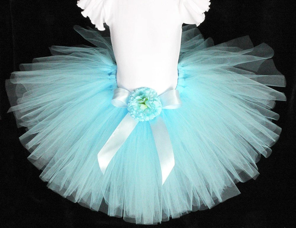 Girls Tutu Birthday Tutu Light Blue Tutu Custom Sewn