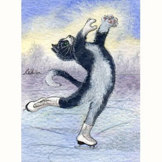 Cat kitten ice skating tuxedo signed ACEO print art card