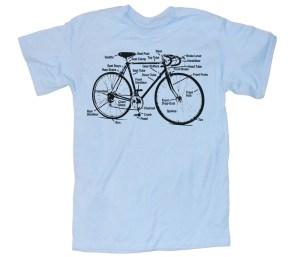 Mens BICYCLE T Shirt Diagram Light Blue unisex