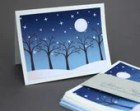 Silent Night Notecards, Set of 8 Night Winter Snow Stars Full Moon Trees Blue Modern Cerulean Peaceful