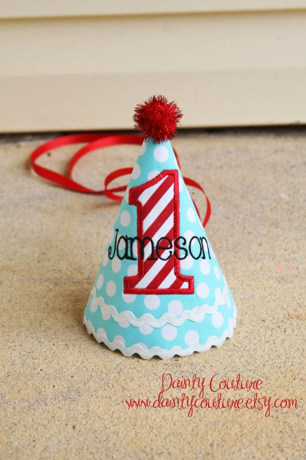 Boys Birthday Hat Aqua And White Dots Red