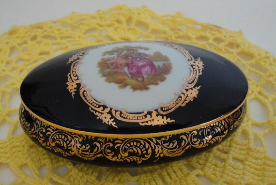 Vintage Limoges Castel Oval Trinket Box 22K Gold Trim by