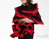 Felt Scarf - Wavy ruffled Shawl - Carmen passion - Handmade wool and silk - JumiFelt