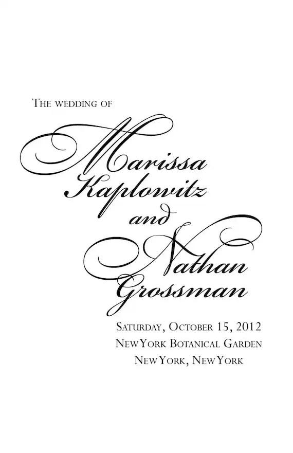 Custom printable Jewish wedding program by BullCityStudio