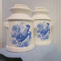 Vintage Ceramic Canisters Blue And White French Country