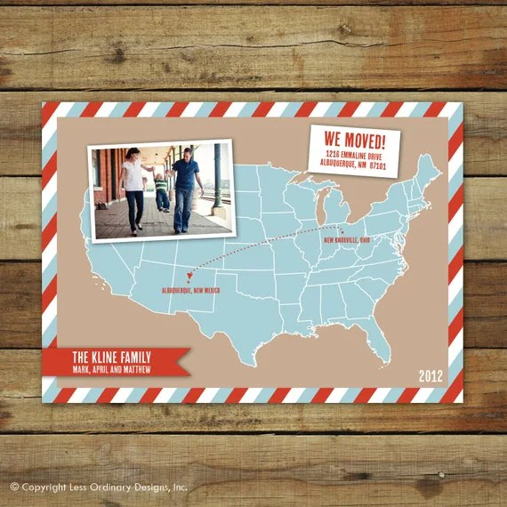 Map Moving Announcement Map Photo Card Cross Country Move