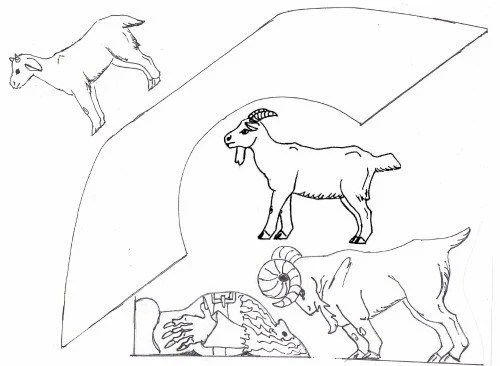 Three Billy Goats Gruff Unfinished Pine Playset
