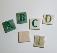Mosaic Tile Porcelain Ceramic Letters Pepper font