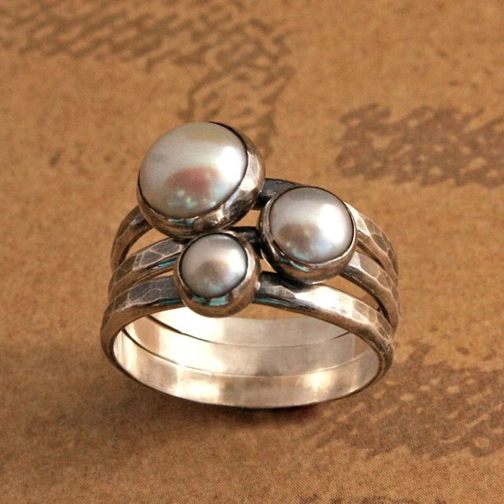 Rustic Pearl Stacking Rings Sterling Silver
