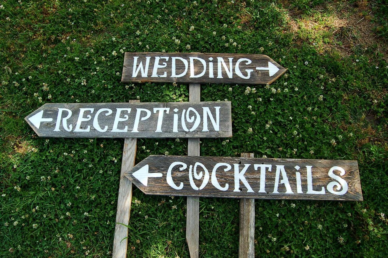 Receptions Sign Wedding Sign Cocktails Sign Bar Sign Yard