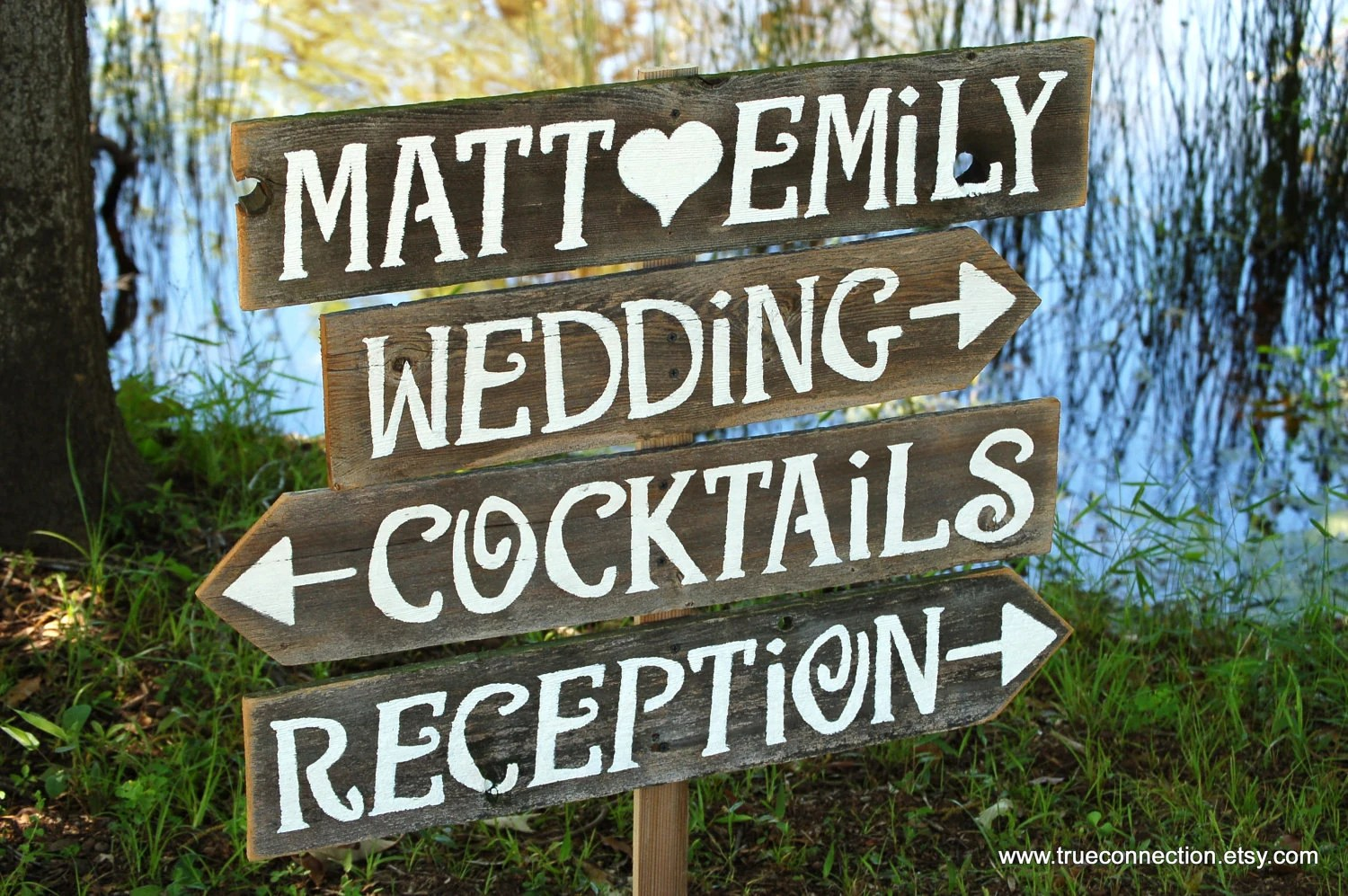 Wedding Signs AND Stake Reclaimed Wood Signs Reception Signs
