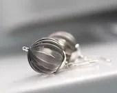 Platinum Gray Earrings, Lucite Jewelry, Misty Grey Earrings, Dangle Earrings, Sterling Silver - Moody - WildWomanJewelry