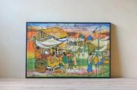 colorful batik wall art village scene