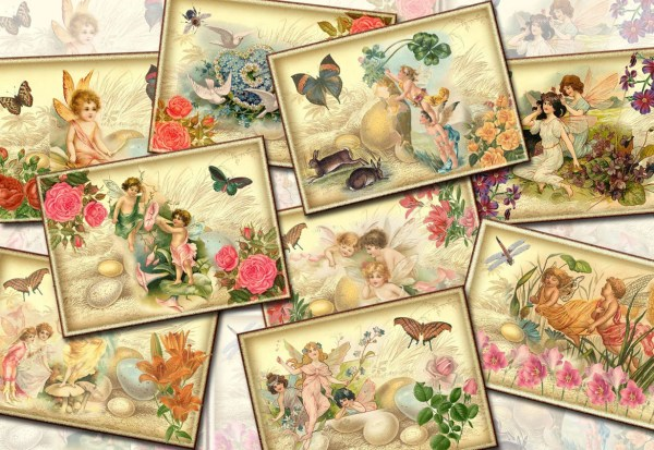 Fairy Pixie Imp Sprite- Whimsical Vintage Art Tags Paper Crafts-instant Printable