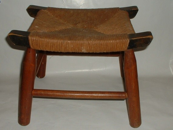 Vintage Wooden Foot Stool With Rush Seat