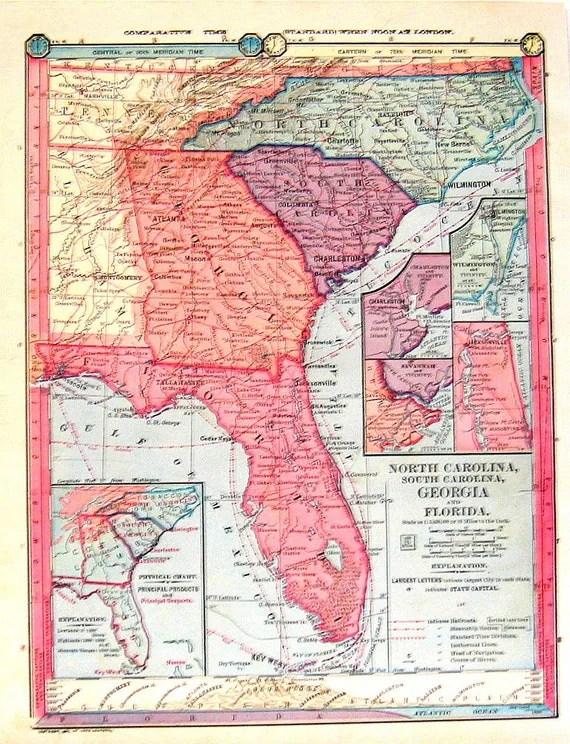 1885 Map South Carolina North Carolina by mysunshinevintage