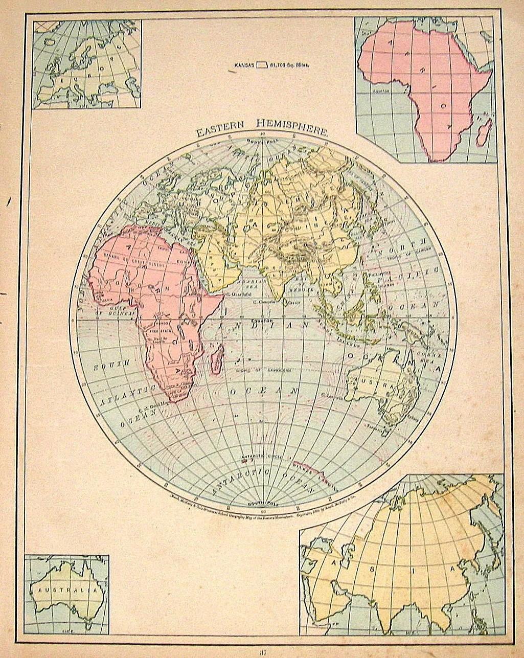 Antique Map Ilustration The Eastern Hemisphere
