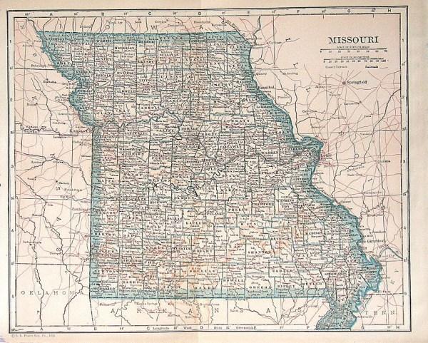 Missouri Map 1925 Vintage Antique USA Map Colored
