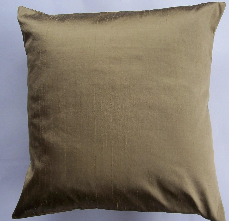 Bronze Silk Throw Pillow Cover Gold Bronze Simply Silk