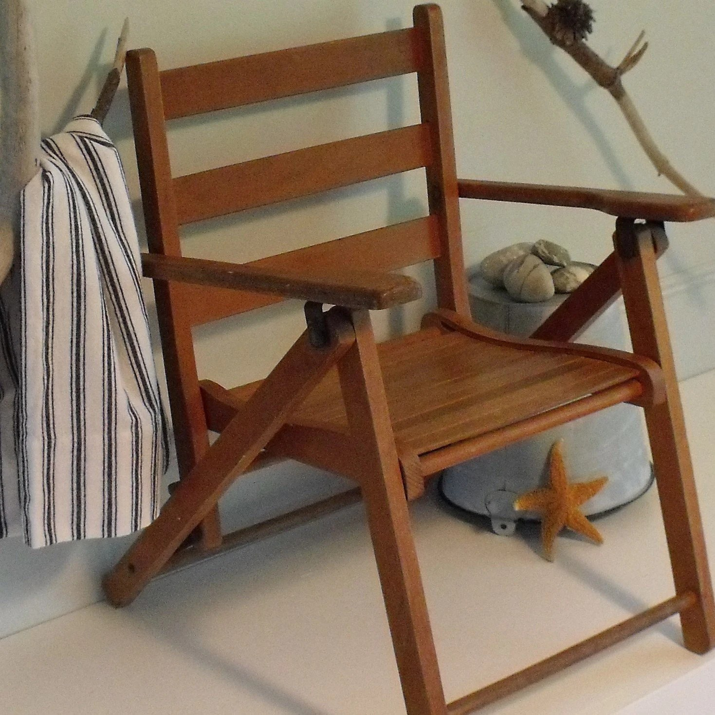 Folding Wood Beach Chair Vintage Childs Wood Folding Chair 1950 39s Beach Decor