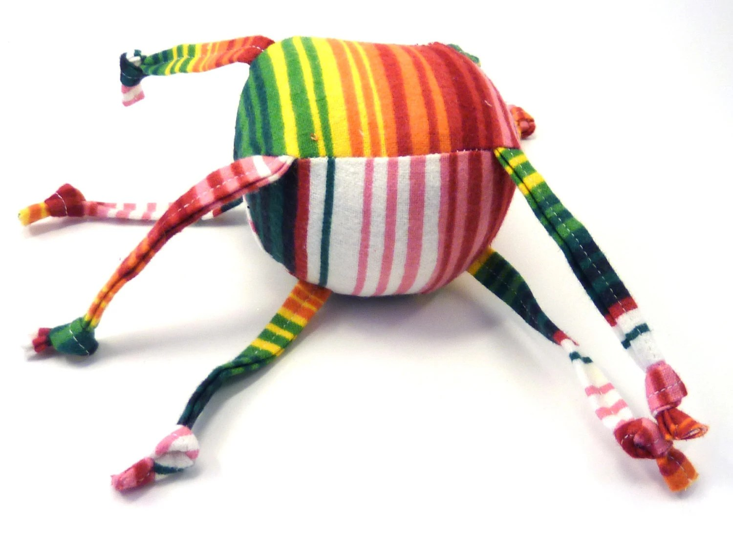 Soft Baby Toy - ZadyMini - Stripes - Red Green White Yellow Orange - Zadyball