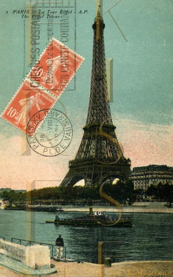 Items similar to Orange Postage Stamp EIFFEL Tower PARIS French postcard DIGITAL Scan on Etsy