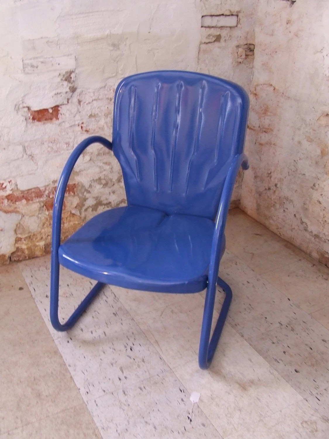 Royal Blue Vintage Metal Shell Back Lawn Chair Outdoor Chair