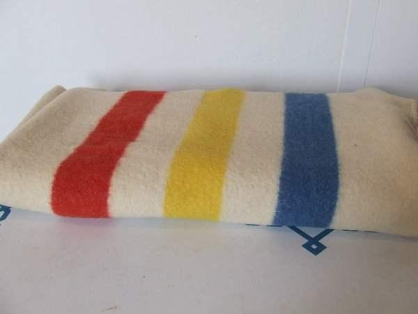 Vintage Striped Wool Camp Blanket Golden Dawn