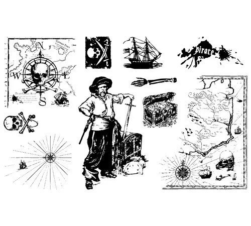 Rubber Stamp Set Pirate Treasure Skulls and by curiousbydesign