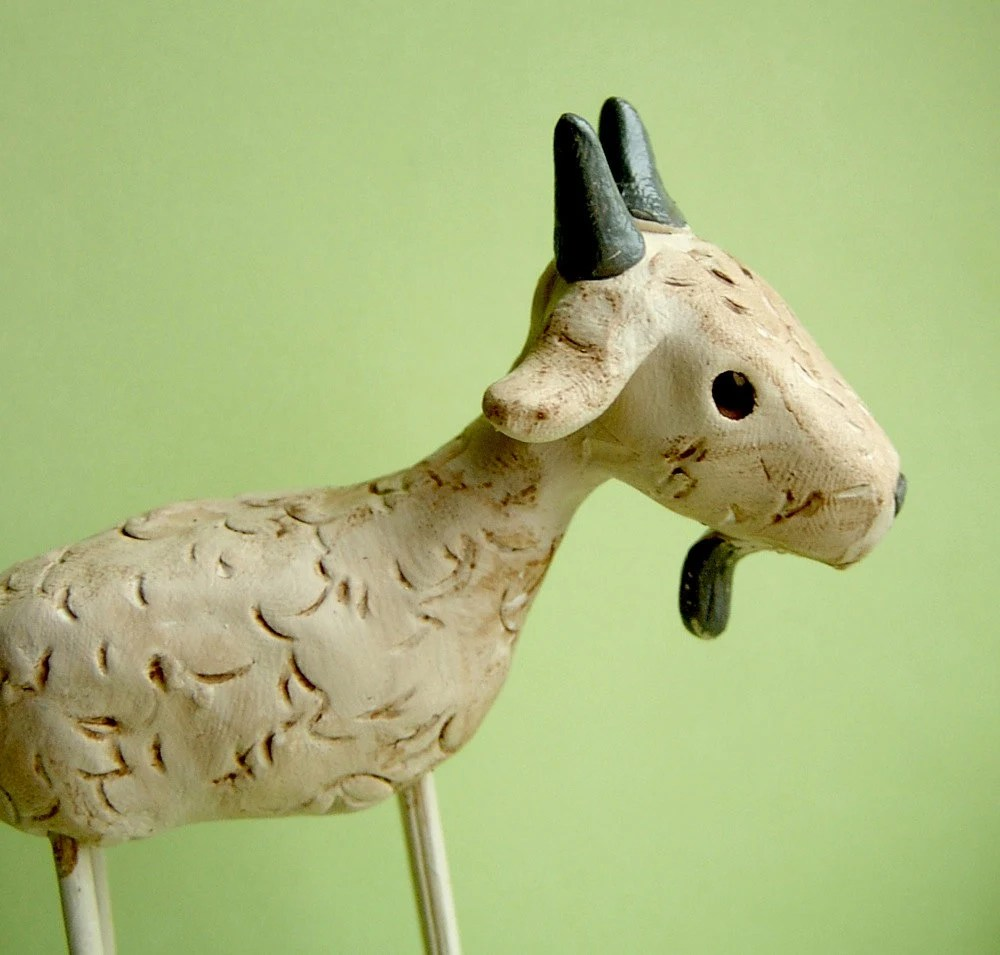 Folk Art Goat clay sculpture by indigotwin on Etsy