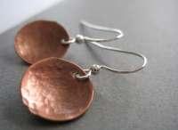 Copper Earrings Copper Dome Hammered Earrings Handmade