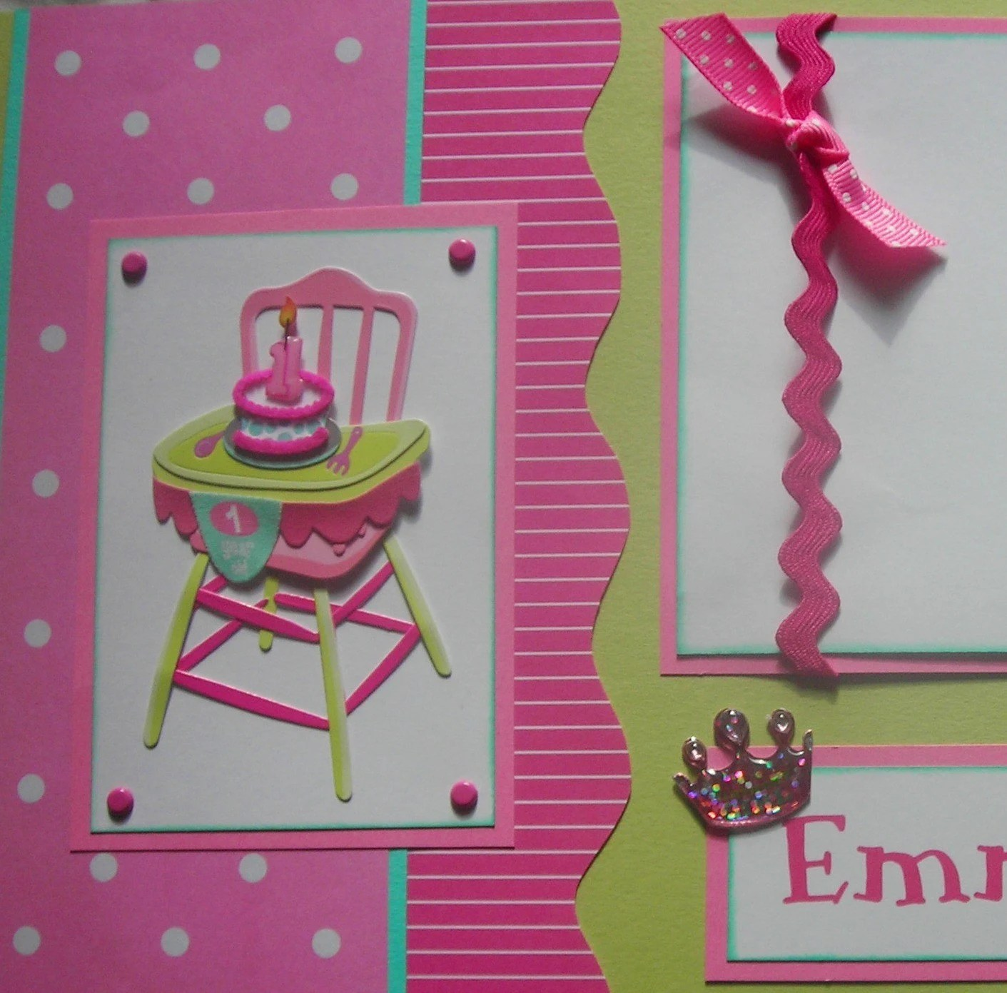Personalized BABYS FIRST BIRTHDAY GiRL 12x12 Premade Scrapbook
