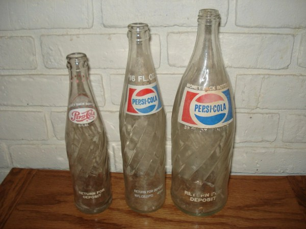 Vintage Glass Pepsi Cola Bottles 32 16 10 Ounces