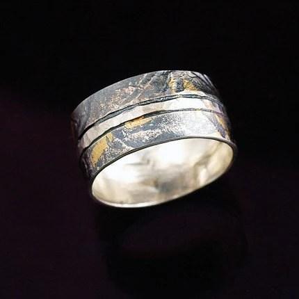 Silver and 24 Karat Gold Ring BandFREE SHIPPING by NakedJewelry