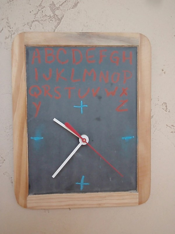 Vintage Chalkboard Clock Recycled And Repurposed Wall