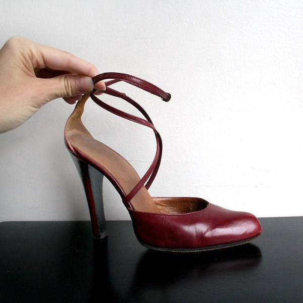 Vintage Burgundy Heels Criss Cross Ankle Strap High