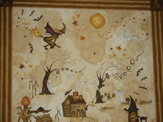 The Haunted Hollow fabric panel by Red Rooster fabrics